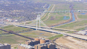 Helicopter aerial photo of Dallas' iconic Margaret Hunt Hill Bridge