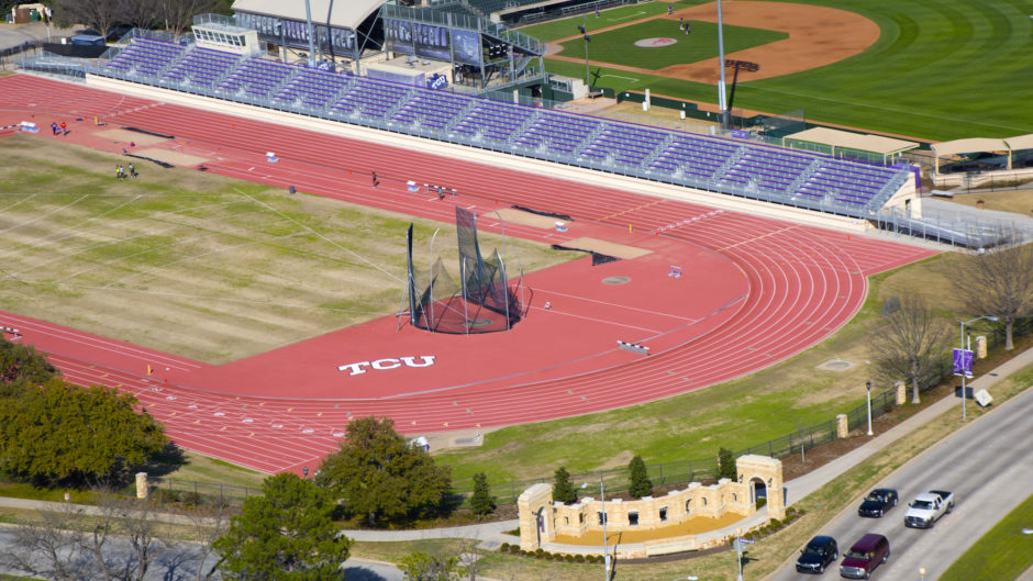 Helicopter photo in Dallas of TCU Track
