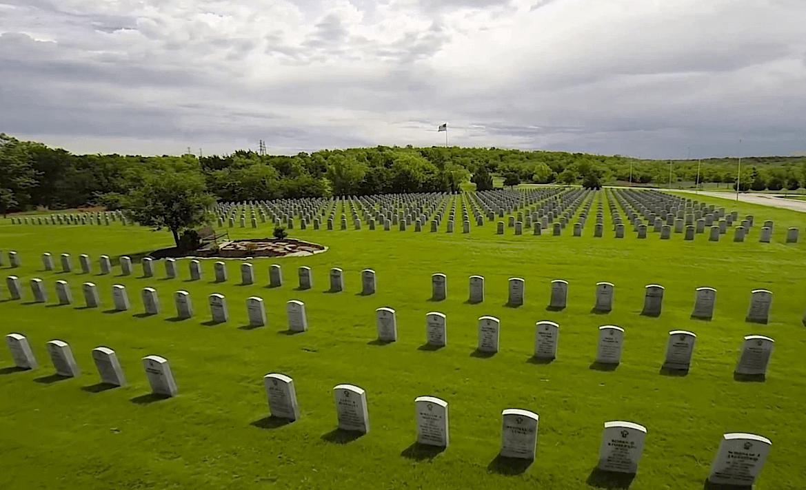 Patriotism in Flight: Aerial Video of Dallas-Fort Worth National Cemetery