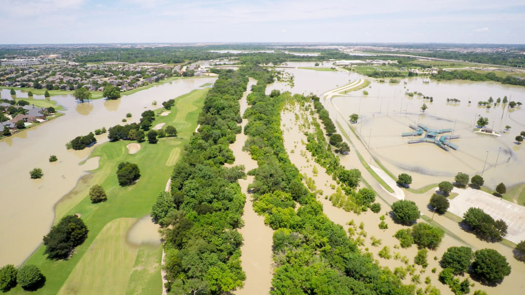 Aerial inspections photo of flooding in Carrollton, TX
