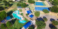 Low-altitude drone photo of a water park north of Dallas, Texas